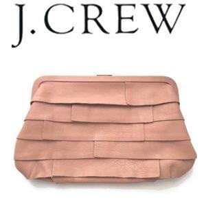 J Crew Dusty Rose Layered Leather Frame Clutch LTD